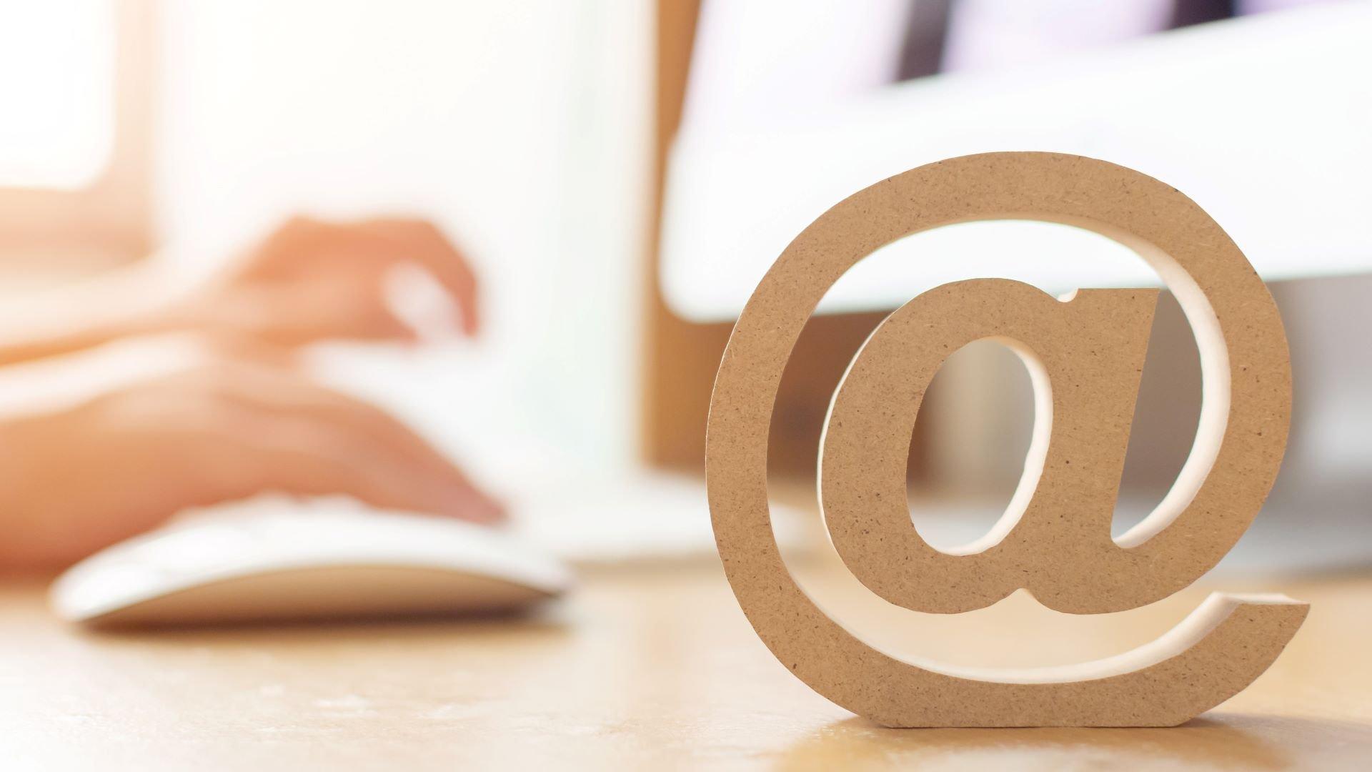 Marketing workstation with email marketing symbol