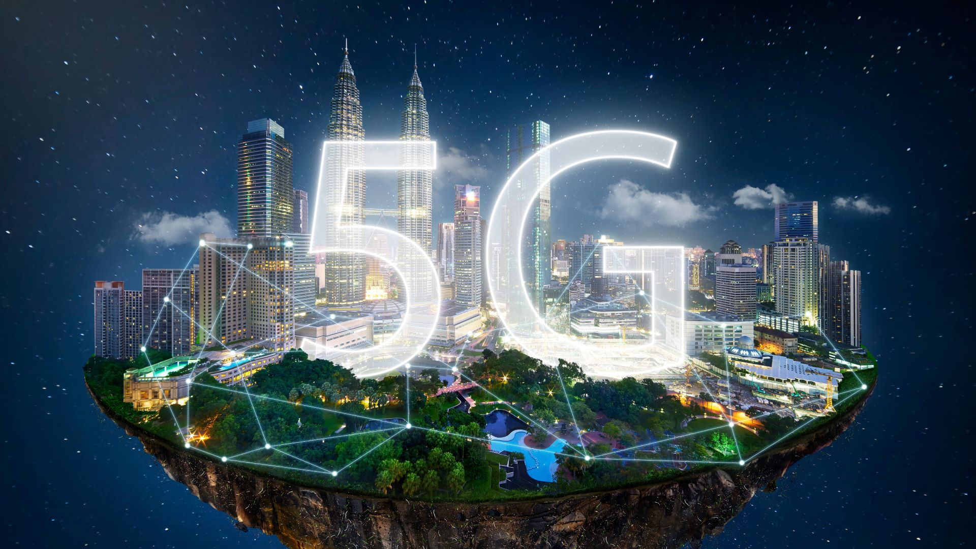 Artistic rendering of 5G connecting cities and people online through video