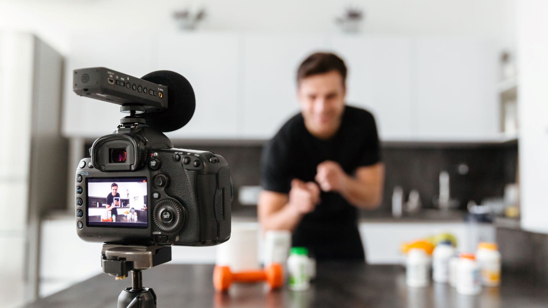 Talent recording content for sales pitch video for wellness products