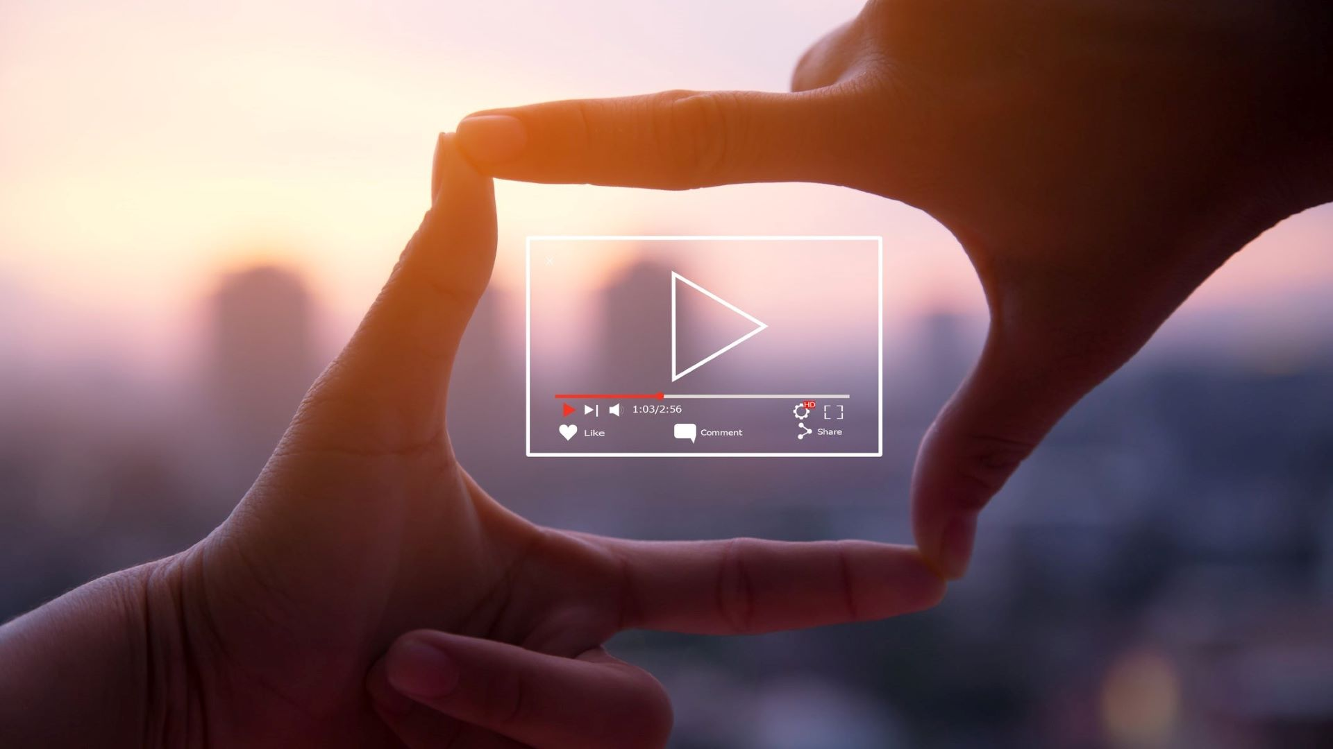 Viewer's hands framing a trending marketing video