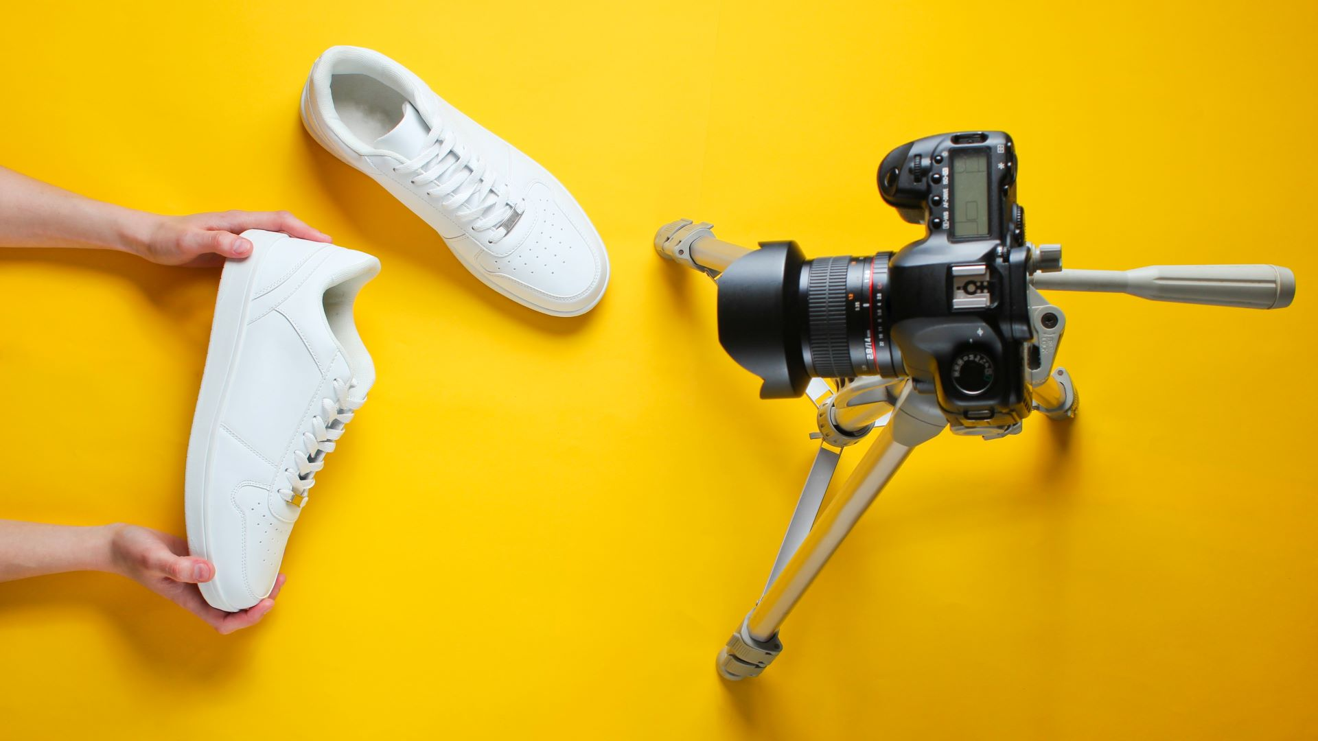 Camera filming a video to improve the sales process for sneakers