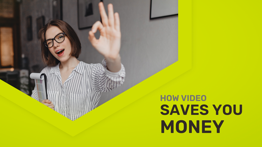 A successful business owner celebrating a positive ROI and money saved with video marketing
