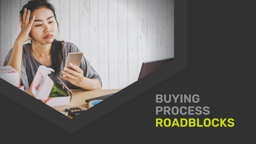 A frustrated e-commerce customer experiencing roadblocks in the digital buying process